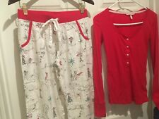 Victoria Secret Thermal Pajama Set XS Cotton Flannel Cozy Christmas Red Gift NEW