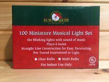 Vintage Kurt Adler 100 Mini Musical Christmas String Lights Blinks 6 Tunes NIB
