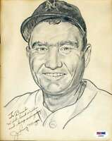 Johnny Mize Signed Psa/dna Original Drawing 8x10 Photo Authenticated Autograph