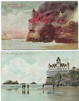 "(2) Antique Post Cards c.1907 View Cal. San Francisco ""The Cliff House ""  Fire"