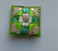 Square Cloisonne Perles, vert/rose/strass, 22 mm. Fabrication de Bijoux/Artisanat