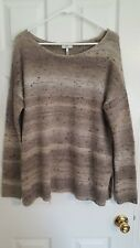 "NEW Joie ""Viktoria"" gray striped metallic pullover drop sleeve sweater Med $318"