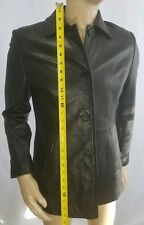 LIZ CLAIBORNE BLACK LEATHER JACKET w/Nylon Lining - Size M - Great Gift