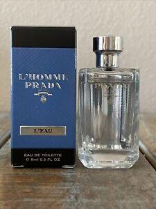Prada men's L'Homme L'Eau Eau de toilette EDT Mini 9 ml .3 0.3 OZ NEW IN BOX
