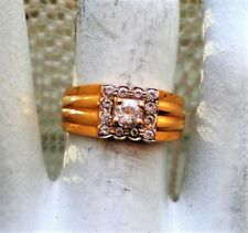 Vintage Solid 22K 916 Yellow Gold Clear Paste Stone Cluster Halo Ring 5 grams