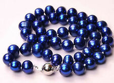 """beautiful 8-9mm PEACOCK BLUE AKOYA PEARLS NECKLACE 17"""""""