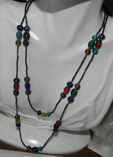 Vintage Christmas Red Blue Green Molded Opalescent Glass Beaded Necklace.