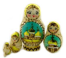 "russian hand painted 5 pcs Nesting Woodburn Matreshka Doll churches 4""x 2 1/2"""