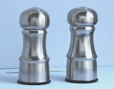EXCELLENT PAIR OF TRUDEAU 4½ INCH TALL STAINLESS STEEL SALT AND PEPPER SHAKERS