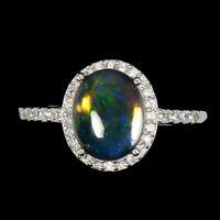 Oval Black Opal 10x8mm Cz 14K White Gold Plate 925 Sterling Silver Ring Size 9.5