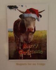 MERRY CHRISTMAS COW FRIDGE MAGNET - M680