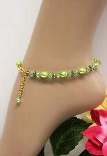 Glass Jewels Gold Fußkettchen Fußkette Grün Perlen Hippie Variabel #K033