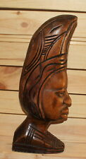 Vintage African hand carving wood man head figurine
