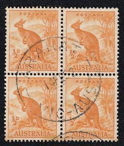 "Australian Block of 4x 1/2D Wallaroo stamps with ""ARARAT - VIC AUST"" Postmark"