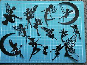 14 Black Die Cut Fairies/Fairy Silhouettes (Set 1) Craft Clearout