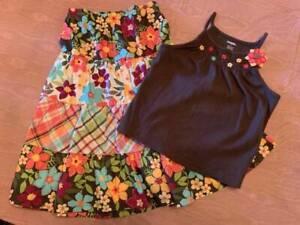 NWT & EUC Gymboree Jungle Gem Tropical Floral Tank & Skirt Set Girls Sz 7