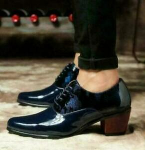 Mens Shiny Leather Pointed Lace Up Cuban Heels Formal Dress Party Wedding Shoes