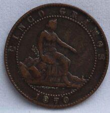 1870 Spanje - Spain 5 Centimos, cinco centimos 1870 - KM# 662