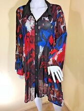 TAKING SHAPE SZ 22 BLACK/BLUE/RED PLEAT EFFECT L/SL LONGER LENGTH TUNIC BLOUSE