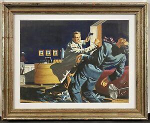 Original 1950 Geoffrey Biggs Saturday Evening Post Illustration NYC Gangsters