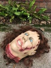 FEMALE SEVERED HEAD LATEX LIFE SIZE HALLOWEEN PROP DECORATION FANCY DRESS ZOMBIE
