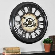 """Large Moving Gear Works Roman Numerals Round Bronze Industrial Wall Clock - 24"""""""