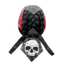 Red Black Skull Paisley Doo Rag Head Wrap Cap Biker Durag Sweatband Capsmith