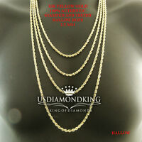 MEN'S WOMEN'S REAL10K YELLOW GOLD HOLLOW ROPE CHAIN NECKLACE 2.5 MM 16~24 INCH
