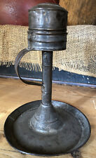 RARE 19TH C TIN WHALE OIL LAMP INSERT IN GREAT ORIGINAL SURFACE