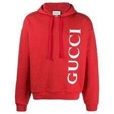 New Gucci Unisex Red Medium Big Logo Cotton Hoodie Sweatshirt Retails $1450