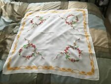 English Afternoon Tea. Linen Hand Embroidered Table Cloth Classic 1950's