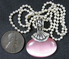 """Modern Fancy Silvertone Necklace With Pink Moon Stone Pendant 15"""""""