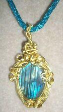 Labradorite Gemstone Cabochon Wire Wrapped Pendant Necklace