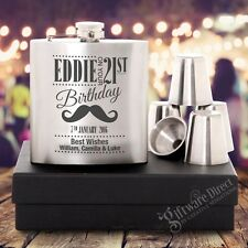 Engraved Personalised Birthday Hip Flask GIFT SET 18th, 21st, 30th Stainless 6oz