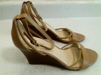 Nine West Women's Size 10M Beige Fastness Ankle Strap Wedge Heel Shoes