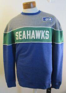 NWT Fanatics Seattle Seahawks Mens Throwback Crew Sweatshirt L Royal MSRP$60
