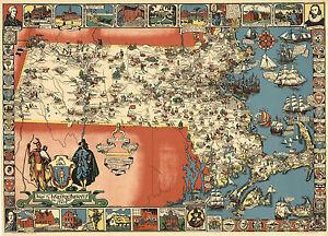 "1930 Map Massachusetts Old Bay State 11""x16"" Historic Wall Art Poster Decor"