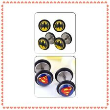 One Batman / Superman Fake Ear Plug Cheater Earring Mens Womens Ear Stud