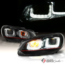 For 10-14 Golf/GTI Light-Tube-DRL Projector Headlights w/Red Line, Match Grille
