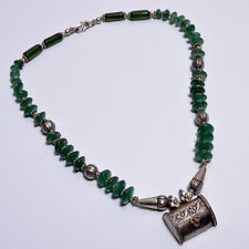 Old Silver Pendant Necklace Green Aventurine Handmade(BBBF)