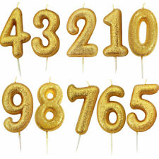 7cm Glitter Number Candles Gold Number 0-9  Birthday Party Cake Candle Pick
