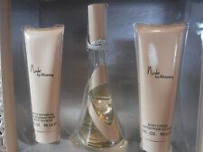 3pc Gift Set Rihanna NUDE 1.7oz EDP 3oz Ea Lotion Shower Gel Women NIB (121)