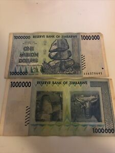 Reserve Bank Of Zimbabwe 1 Million Dollars Circulated Banknote 2008