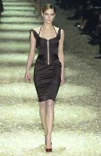 COLLECTIBLE ICONIC GORGEOUS GUCCI/Tom Ford F'3 BLACK silk corset w/straps dress