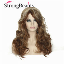 Women's Wig Blonde Highlights Long Curly Natural Hair Synthetic Full Wigs