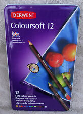 Derwent Coloursoft Pencils 12 ct. In Reusable Metal Tin #0701026 ~ **NEW**