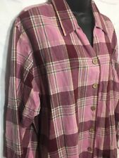 Mountain Lake II Casuals Women's 3/4 Sleeve Pink Color  Plaid Shirt Size 2X