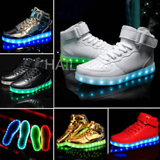 Unisex LED Shoes High Top Breathable Sneakers Light Up Shoes for Girls boys size
