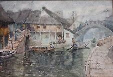 Original Vintage Signed Quality Japanese Impressionist Watercolor-Rainy Harbor