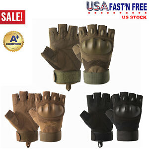 Outdoor Tactical Army Military Motorcycle Hunt Hard Knuckle Half Finger Gloves